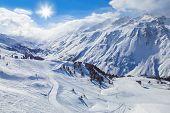 Mountain ski resort Hochgurgl Austria - nature and sport background