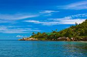 Tropical island at Seychelles - vacation nature background
