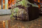 stock photo of underground water  - Medusa head at Underground water Basilica Cistern  - JPG
