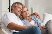 Portrait Of Happy Mature Couple On Sofa Looking At the Future
