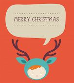 Christmas greeting card - cute girl deer with speech bubble