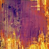 Aging grunge texture, old illustration. With yellow, red, orange, purple patterns