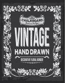 Vintage chalkboard floral vector design. Hand drawn illustration.