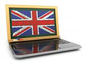 English online. E-learning. Laptop and blackboard with UK flag. 3d