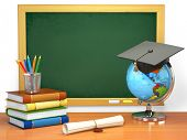 School education concept. Mortar board, blackboard, books, globe and pencils. 3d