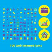 100 web internet icons, signs set, vector