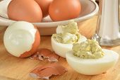 picture of salt shaker  - hard boiled eggs and egg salad on a cutting board with salt - JPG