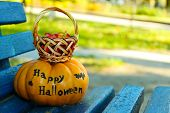 Halloween pumpkin and basket with candies on colorful bench background, outdoors