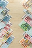 Euro banknotes on table close-up