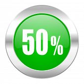 50 percent green circle chrome web icon isolated
