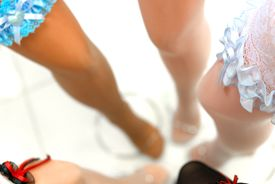 stock photo of peg-leg  - Sexy and lacy garters in the shop  - JPG