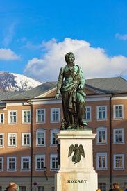 stock photo of mozart  - Mozart statue in Salzburg Austria  - JPG