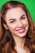 picture of false teeth  - attractive young happy smiling woman model with healthy teeth and bright make - JPG