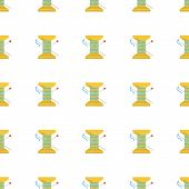 stock photo of thread-making  - Seamless vector pattern for yellow reel with blue thread on white background - JPG