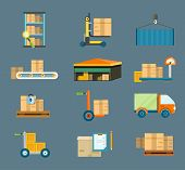 stock photo of ship  - Set of icons warehouse distribution delivery in different locations - JPG