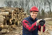 picture of ax  - Close up of happy young lumberjack with ax beside cut trunks in forest - JPG