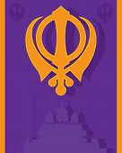 pic of sikh  - an illustration of a religious sikh greeting card with military emblem and gurdwara in purple and saffron colors with space for text - JPG