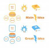 pic of main idea  - Main Idea Vector Icons in Flat Style - JPG