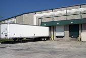 Warehouse loading bays with trailer