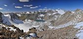 picture of shan  - Scenic panorama of lake below highest mountain peaks in Ala Archa national park in Tian Shan mountain range in Kyrgyzstan - JPG