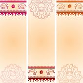 foto of indian elephant  - Set of 3 colorful oriental henna lotus and elephant banners with space for text - JPG