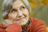 foto of elderly  - Happy elderly woman enjoying in autumn park - JPG