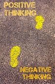 image of positive negative  - Yellow footsteps on sidewalk from Negative Thinking to Positive Thinking message - JPG