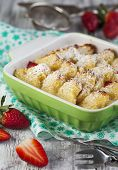 stock photo of french toast  - Baked French Toast With Strawberry in baking dish  - JPG