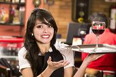 pic of serving tray  - beautiful young waitress girl serving a drink holding tray - JPG