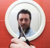 picture of beard  - Bearded man preparing to cut his beard with scissors - JPG