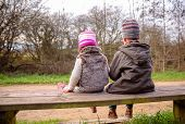 image of sitting a bench  - Back view of happy cute boy and little girl looking the trees sitting on a wooden bench in the park - JPG