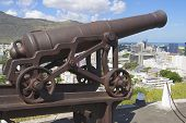 pic of mauritius  - Old cannon at the entrance to the Fort Adelaide overlooking the city in Port Louis - JPG