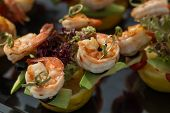 image of canapes  - Perfect party shrimp canape starter on holiday - JPG