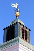 stock photo of wind-vane  - Old Fashioned Steel Weather Vane on the tower on Petrovaradin fortress - JPG