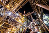 stock photo of refinery  - big Oil and gas Refinery At Night - JPG