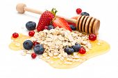pic of oats  - Oats honey and fresh fruits isolated on white background - JPG