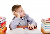 picture of boring  - Bored Kid on the School Desk Isolated on the white background - JPG