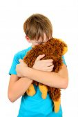 foto of sissy  - Sad Kid with Plush Toy on the White Background - JPG