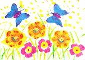 foto of batik  - Children drawing Batik butterfly watercolor - JPG