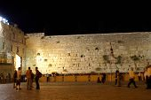 wailing wall - jerusalem old city at evening