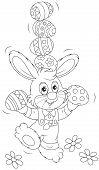 picture of juggling  - Little rabbit juggling with decorated Easter eggs - JPG
