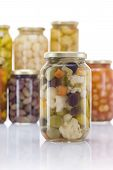 pic of pickled vegetables  - Pickled Mixed Vegetables Jar with Other Pickles Jars in Background - JPG