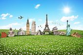 stock photo of world-famous  - Famous monuments of the world aligned on green grass - JPG