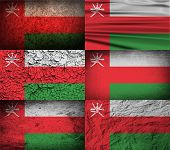 foto of oman  - Flag of Oman with old texture - JPG