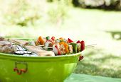 image of barbecue grill  - Grill barbecue food with meat and vegetables - JPG