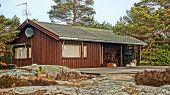 stock photo of log cabin  - Mountain log cabin in the pine trees - JPG