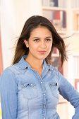 pic of denim wear  - portrait of pretty young brunette wearing denim shirt - JPG