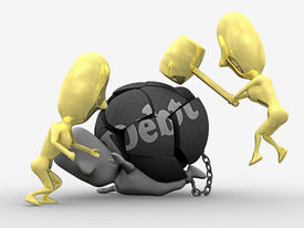 stock photo of debt free  - A 3D illustration of a person saved from debt - JPG