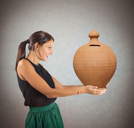 picture of generous  - Generous woman happy to give the savings - JPG