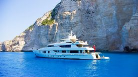 pic of yacht  - View from the top of a large white yacht at Navagio Beach - JPG